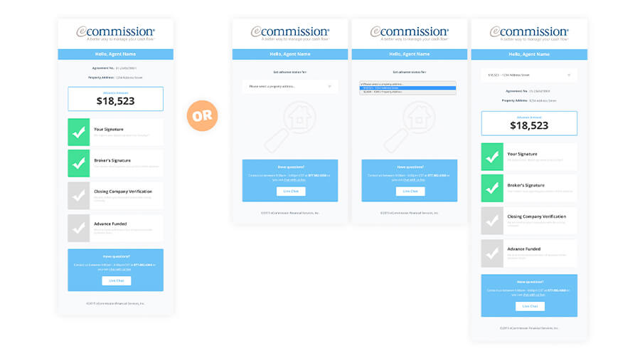 Mobile responsive mockups of the single & multi-property dashboard.