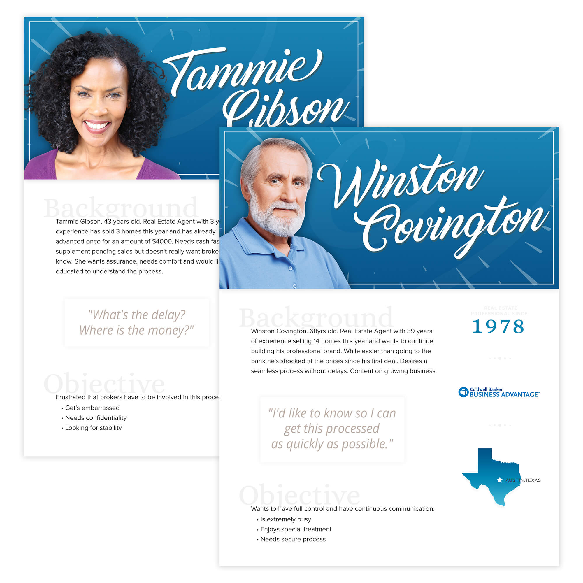 Two user profiles to understand the needs of Tami and Winston, users who would benefit from this feature.