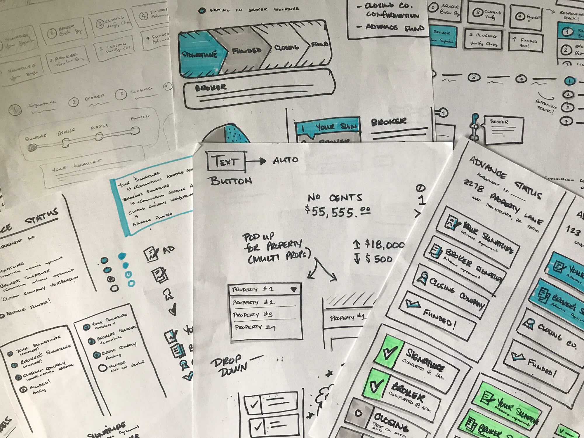 Piles of hand-drawn sketches. A quick, efficient and low-cost way to communicate solutions.